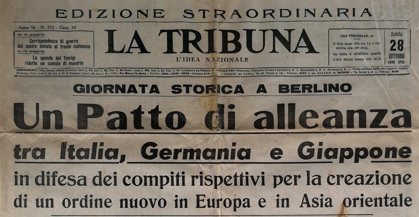 28 settembre 1940: la prima pagina del quotidiano La Tribuna sulla stipula del patto tripartito. Immagine di Gianluca T., CC-BY-SA 4.0