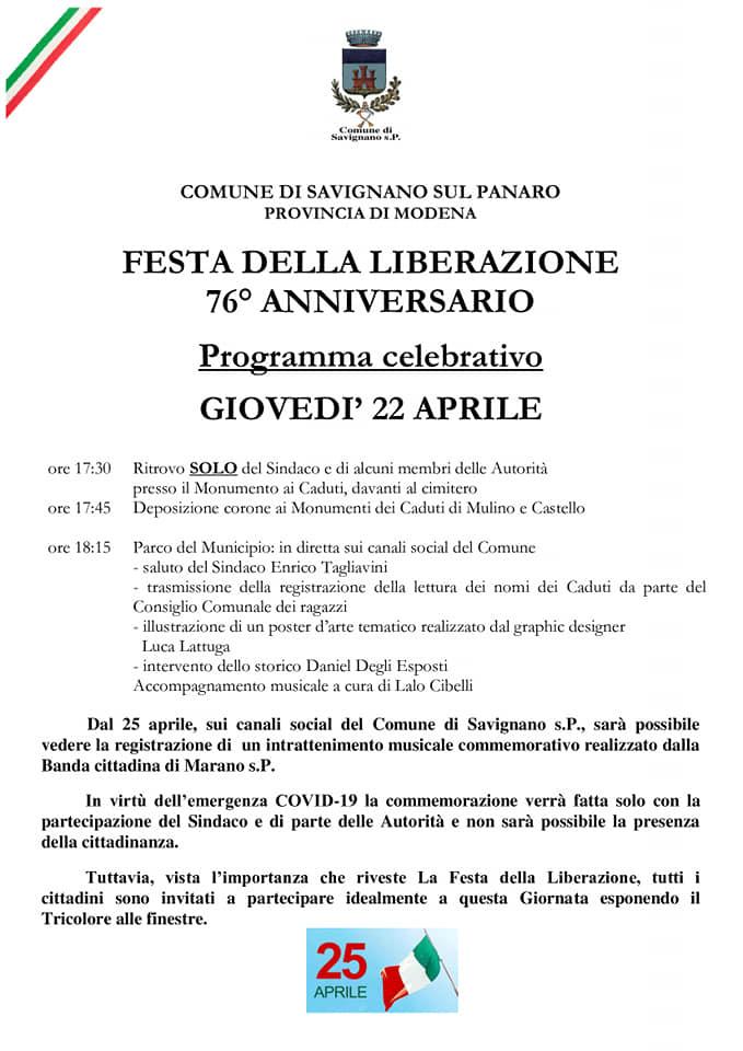 Resistenza a Savignano sul Panaro: il programma del 22 aprile